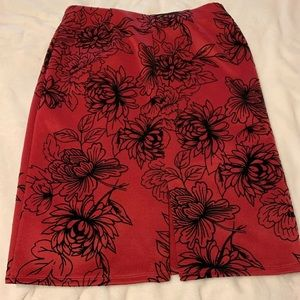 Black and red floral skirt